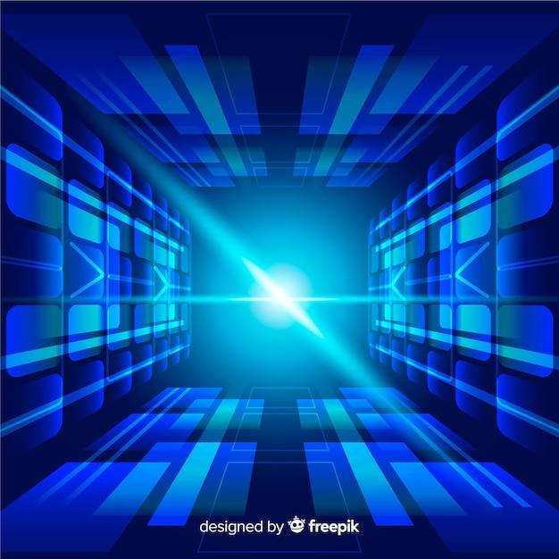 Fondo tecnológico tunel de luz diseño plano vector gratuito
