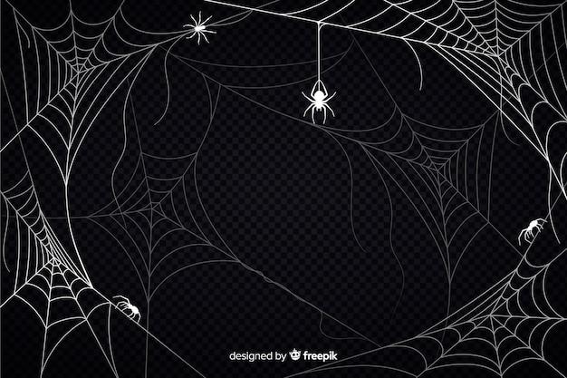 Fondo de telaraña de halloween con arañas vector gratuito