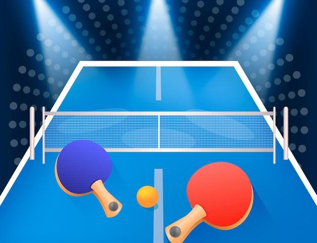 Fondo de tenis de mesa realista con paletas y pelota vector gratuito