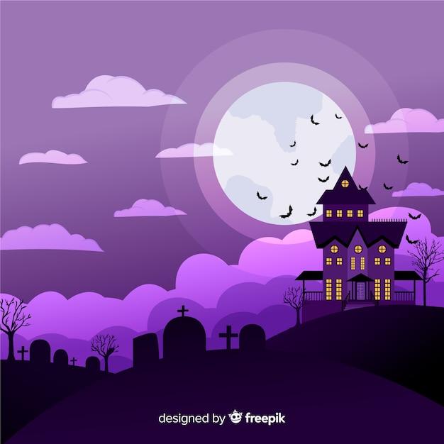 Fondo terrorífico de halloween con diseño plano vector gratuito
