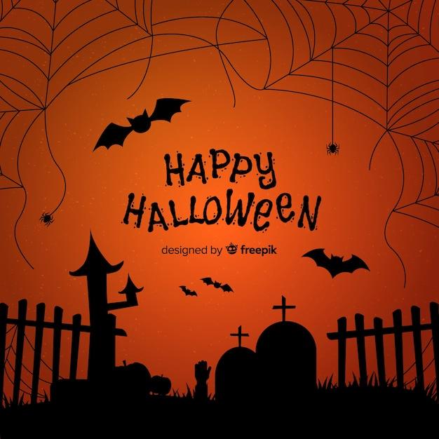 Fondo terrorífico de halloween con telaraña Vector Premium