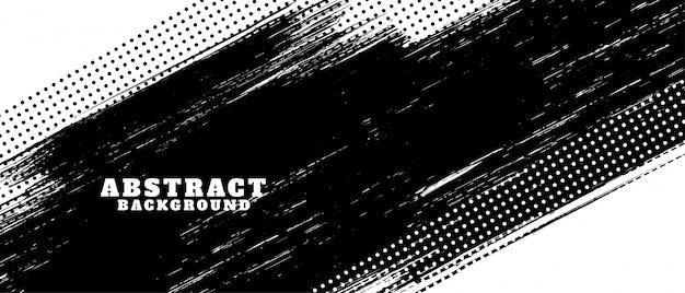 Fondo de textura de trazo de pincel grunge blanco y negro vector gratuito