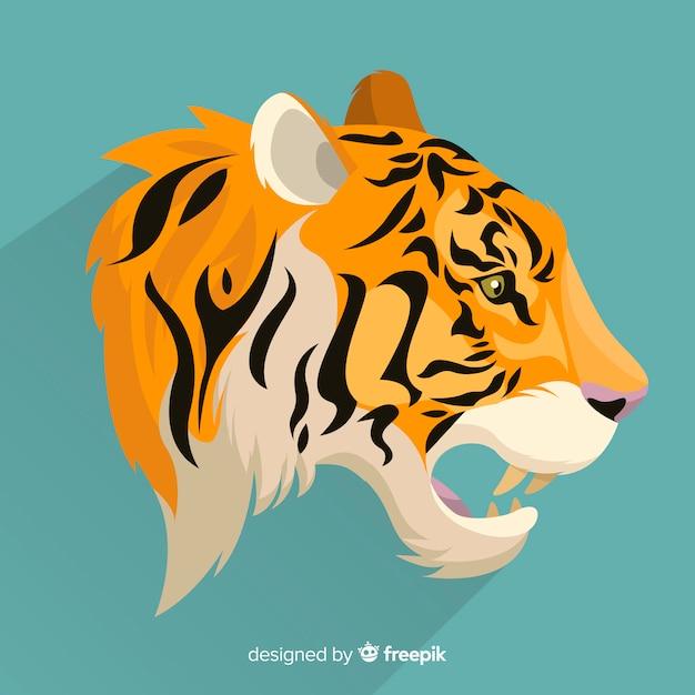 Fondo tigre boca abierta vector gratuito