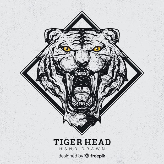 Fondo tigre rugiendo dibujado a mano Vector Premium