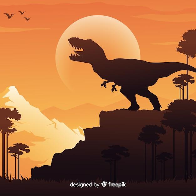 Fondo de tiranosaurio rex en diseño plano vector gratuito