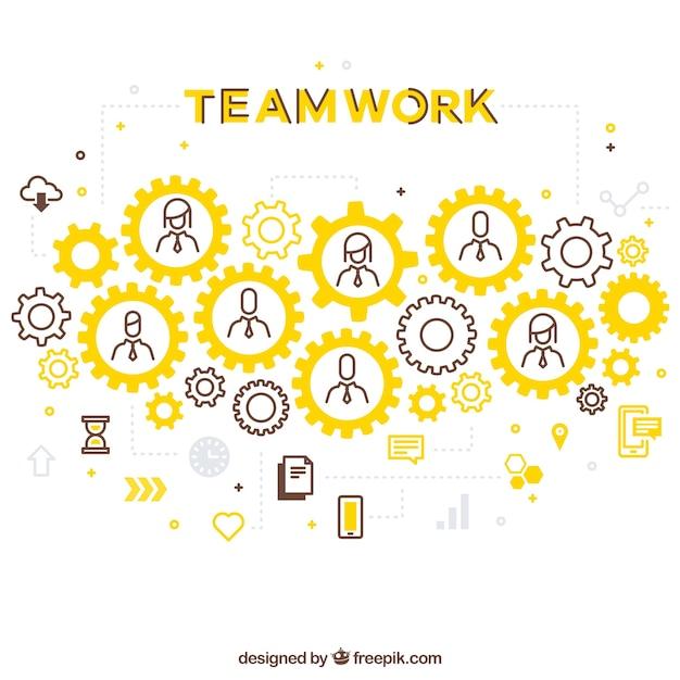 Fondo de trabajo en equipo en estilo plano Vector Premium