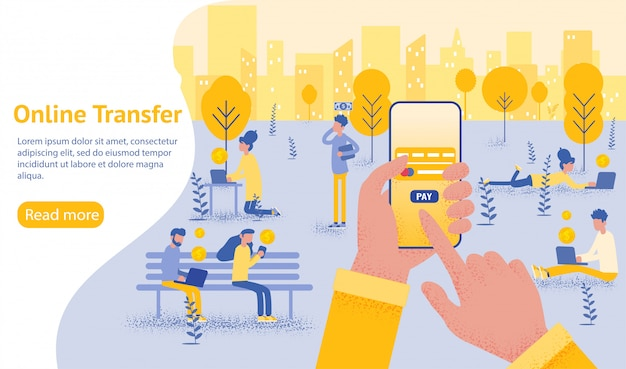 Fondo de transferencia en línea con la mano que sostiene el teléfono inteligente y presione el botón enviar Vector Premium