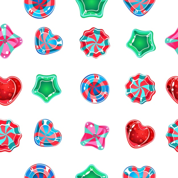 Fondo transparente con caramelos de colores sobre un fondo blanco. Vector Premium