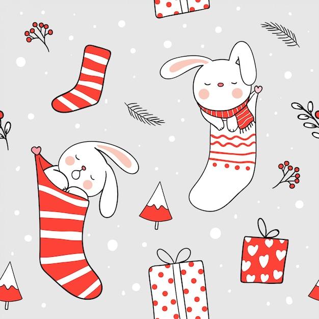 Fondo transparente conejo dormir en calcetín de navidad para el día ...