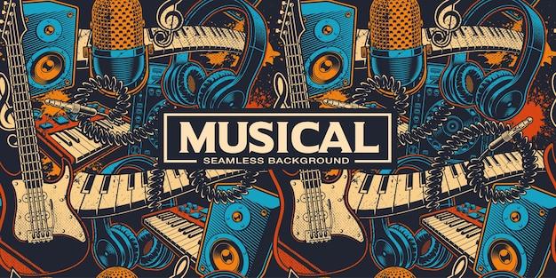 Fondo transparente con diferentes insrtuments musicales de dibujos animados. arte musical. los colores están en grupos separados. Vector Premium