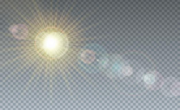 Fondo transparente de nubes y luz solar Vector Premium