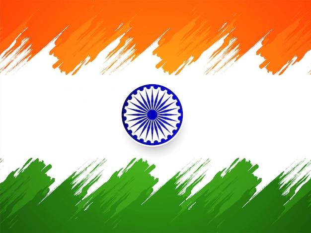 Fondo tricolor hermoso de la bandera india vector gratuito