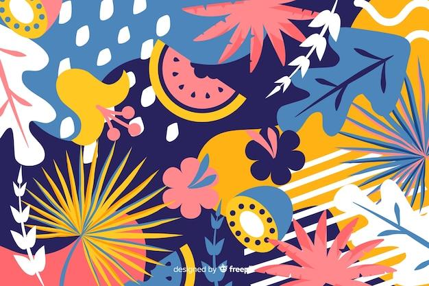 Fondo tropical abstracto dibujado a mano vector gratuito