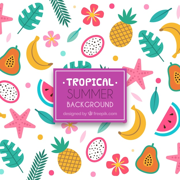 Fondo tropical adorable con diseño plano vector gratuito