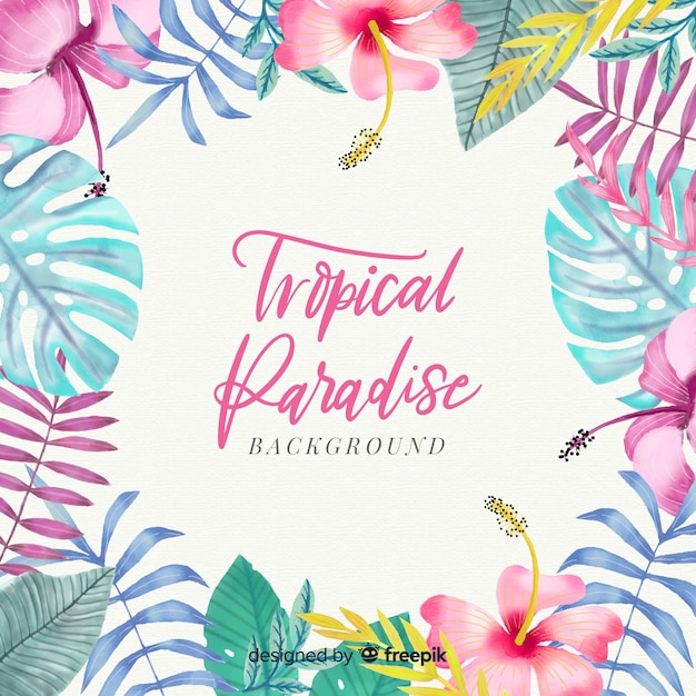 Fondo tropical colorido en acuarela vector gratuito