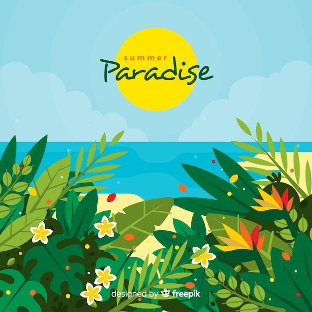 Fondo tropical colorido con diseño plano vector gratuito