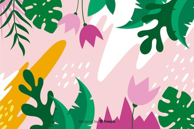 Fondo tropical con composición de plantas y hojas en diseño de estilo plano. vector gratuito