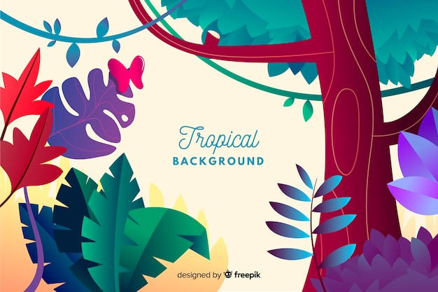 Fondo tropical con degradado vector gratuito