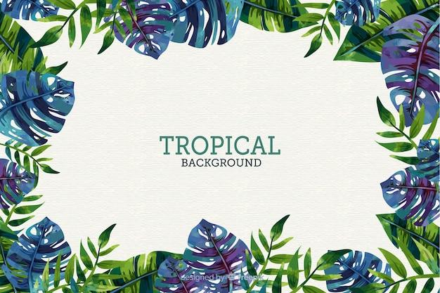 Fondo tropical en diseño plano vector gratuito