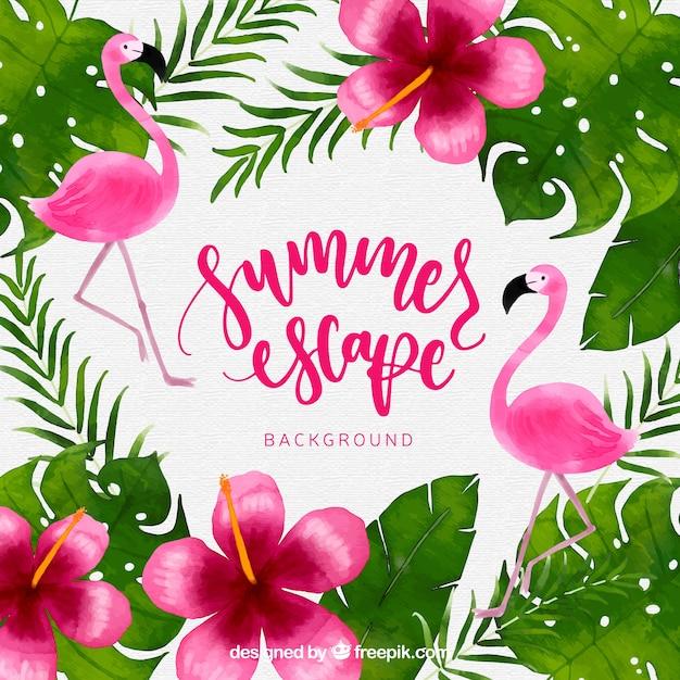 Fondo tropical con plantas y flamencos de acuarela vector gratuito