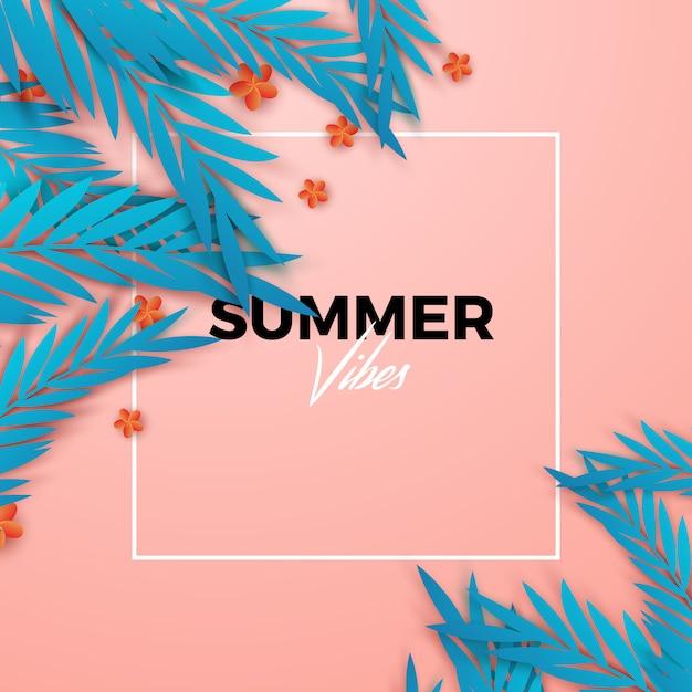 Fondo tropical de verano Vector Premium