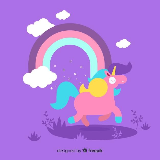 Fondo de unicornio adorable en diseño plano vector gratuito