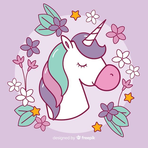 Fondo de unicornio colorido en diseño plano Vector Premium