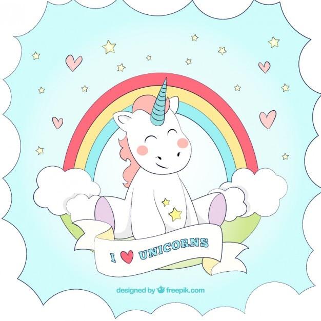 Fondo de unicornio dibujado a mano con un arcoiris vector gratuito