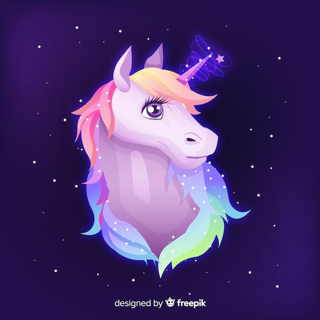 Fondo unicornio dibujado a mano vector gratuito