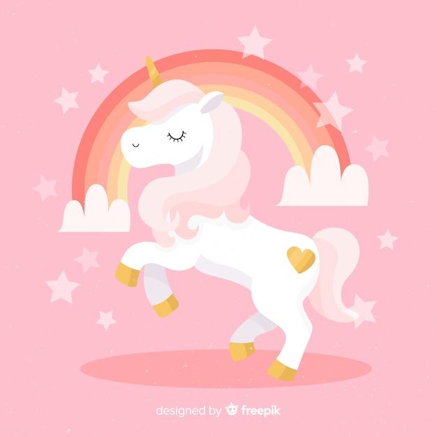 Fondo de unicornio en diseño plano vector gratuito