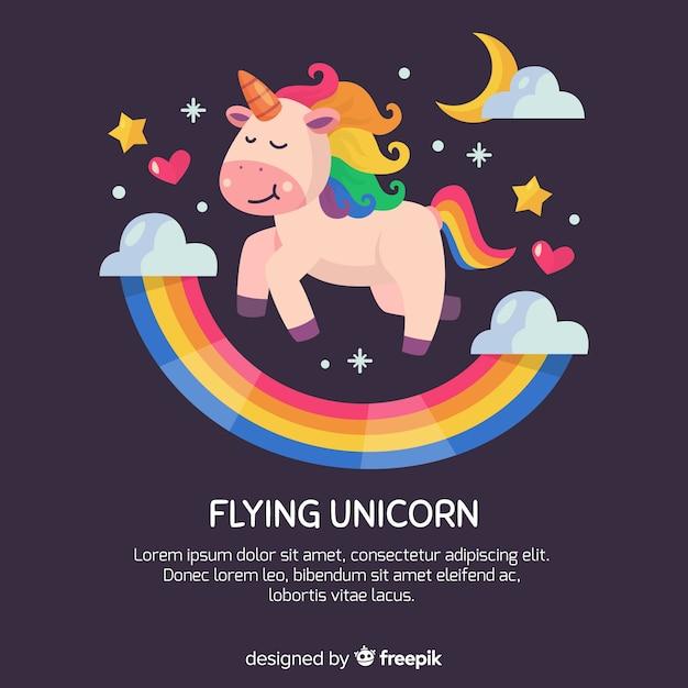 Fondo unicornio kawaii dibujado a mano vector gratuito