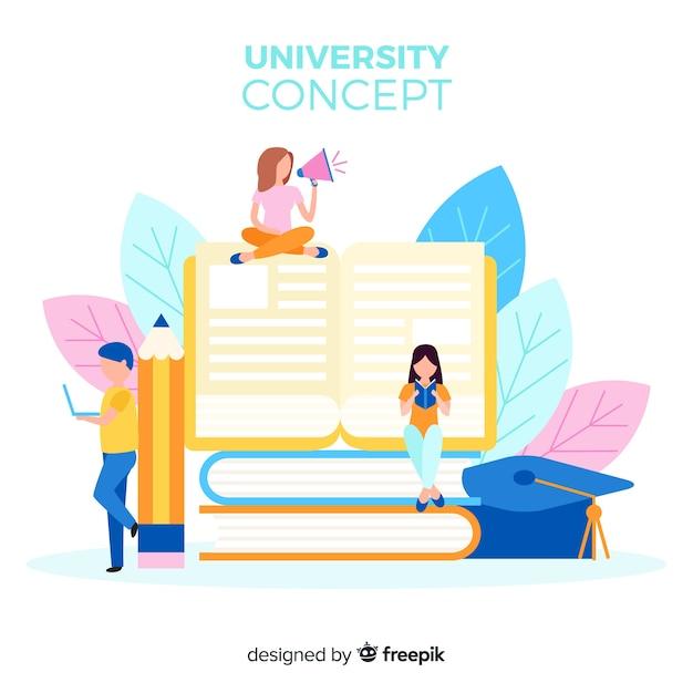 Fondo de universidad en diseño plano vector gratuito