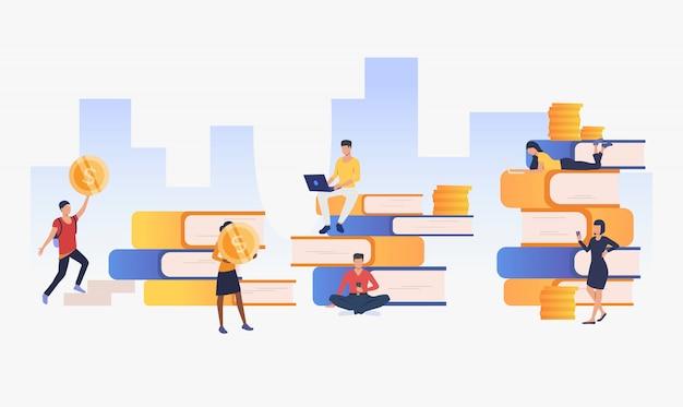 Fondo urbano con personas, dinero y libros. vector gratuito