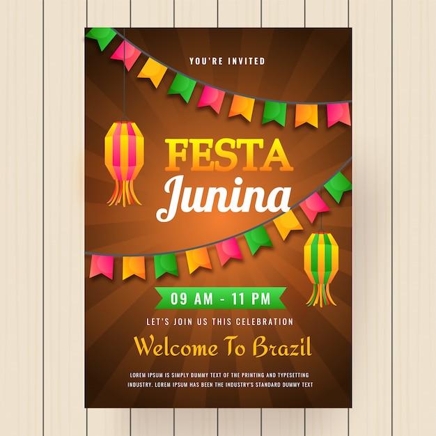 Fondo de vacaciones de festa junina. Vector Premium