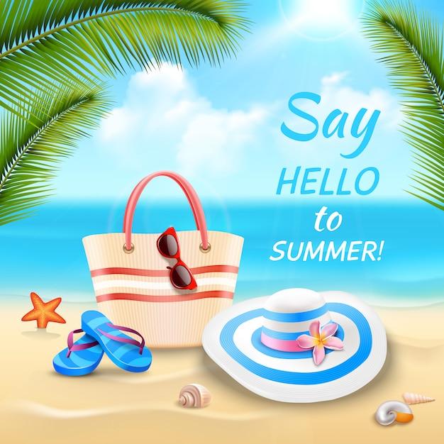Fondo de vacaciones de verano con bolsa de playa sombrero y chanclas en la arena realista vector gratuito
