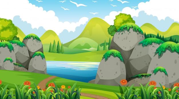 Fondo vacío naturaleza paisaje vector gratuito