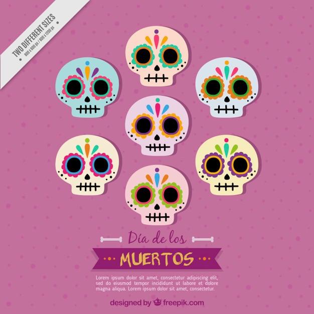 Fondo De Varias Calaveras Mexicanas En Diseño Plano Descargar
