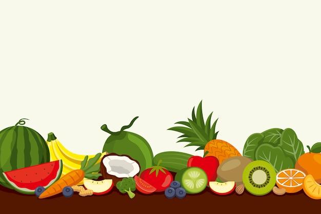Fondo con varias frutas y verduras vector gratuito