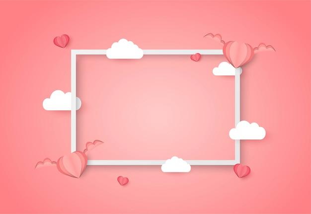 Fondo de vector de día de san valentín con forma de corazón rosa Vector Premium