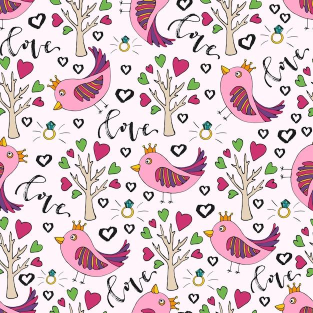 Fondo de vector para el día de san valentín. lindo doodle de patrones sin fisuras con pájaro y árbol de amor Vector Premium