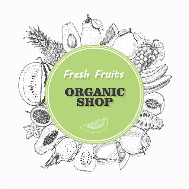 Fondo de vector con frutas aisladas en un círculo Vector Premium