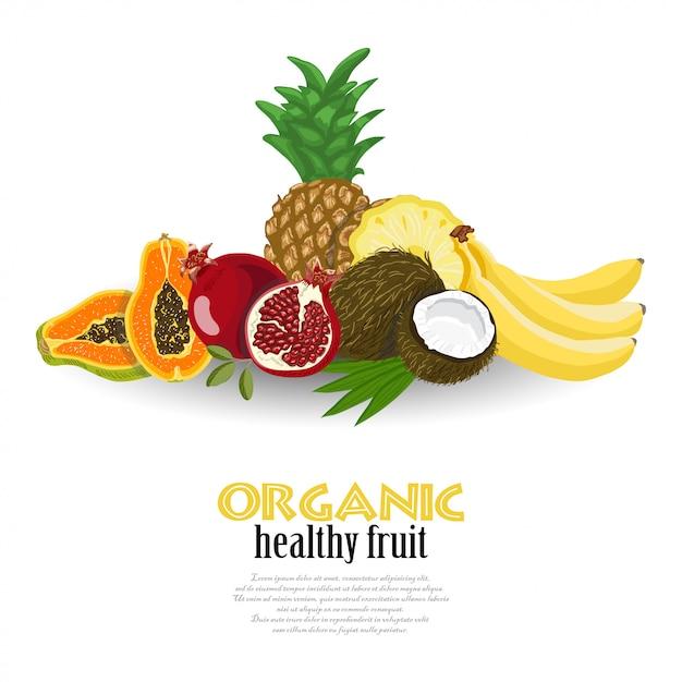 Fondo de vector con frutas exóticas Vector Premium
