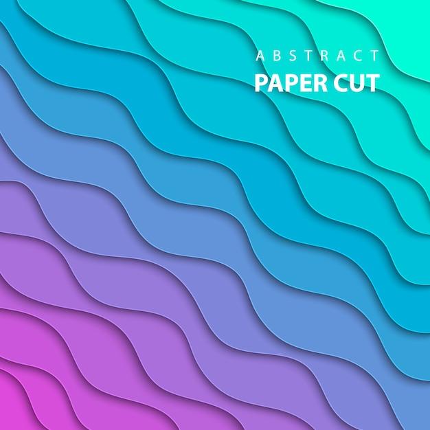 El fondo del vector con el papel del color del gradiente de la lila y de la turquesa del neón cortó forma geométrica Vector Premium