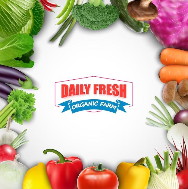 Fondo vegetal de alimentos saludables Vector Premium