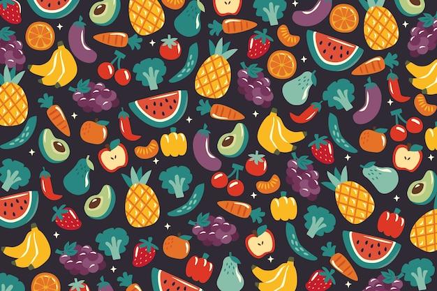 Fondo con vegetales y frutas vector gratuito