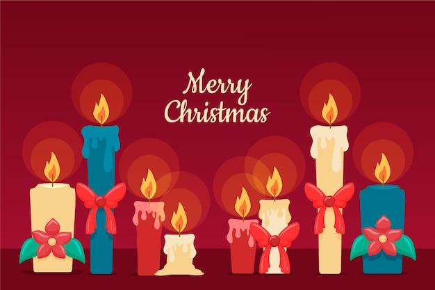 Fondo de velas de navidad dibujadas a mano vector gratuito