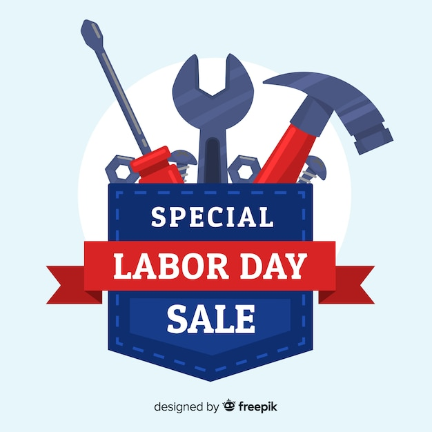 Fondo de venta de día de trabajo plana vector gratuito