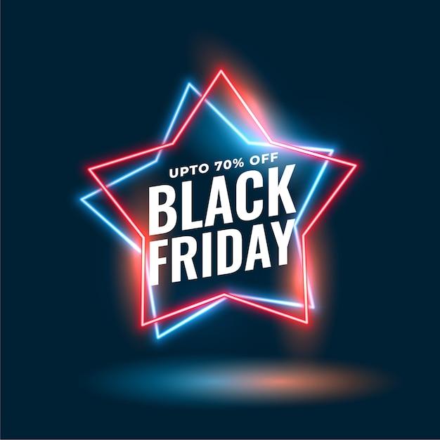 Fondo de venta de estrellas de neón de viernes negro vector gratuito
