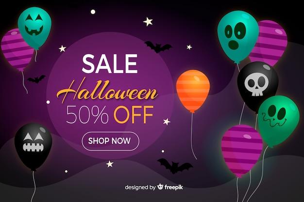 Fondo de venta de halloween con globos en diseño plano vector gratuito
