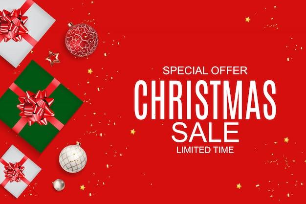Fondo de venta de navidad y año nuevo, plantilla de cupón de descuento Vector Premium